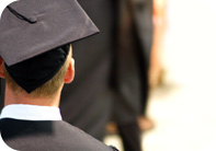 Image of a student in graduation regalia.
