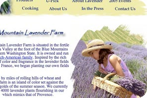 Screen capture of Blue Mountain Lavender website.